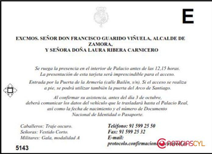Invitación de Casa Real al alcalde de Zamora