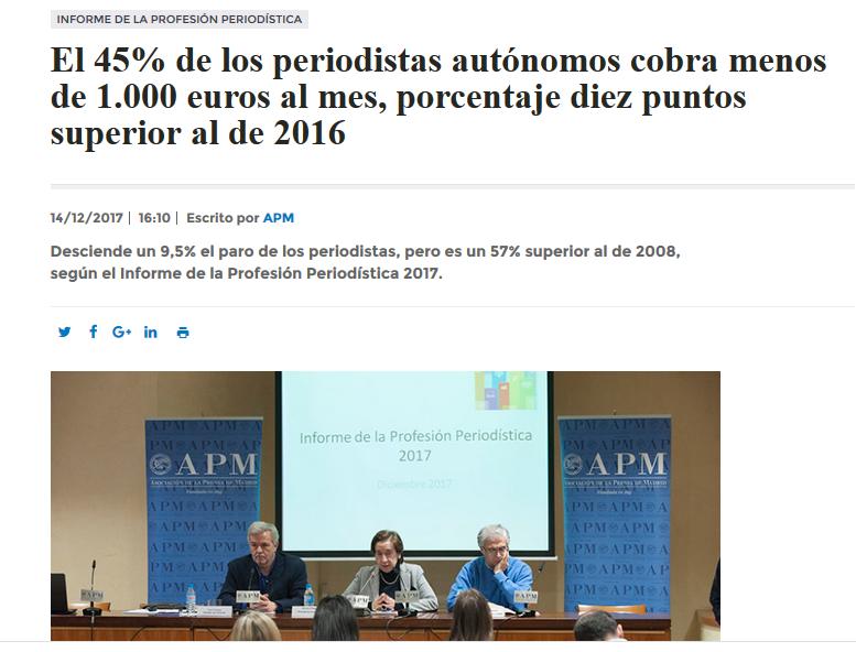 Presentación del Informe sobre la Profesión Periodística 2017 - APM