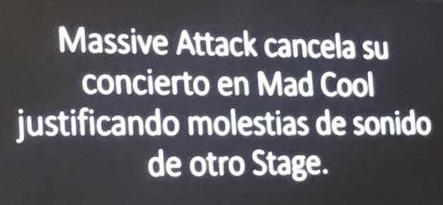 anuncio cancelación concierto Massive Attack en Mad Cool 2018